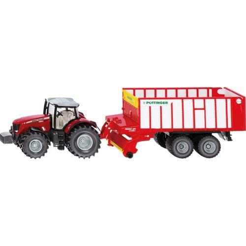 SIKU 1987 Massey Ferguson Traktor mit Pöttinger Jumbo, 1:50
