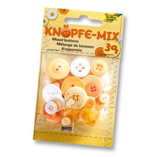 Knöpfe Mix, Ton in Ton, gelb, 30 g