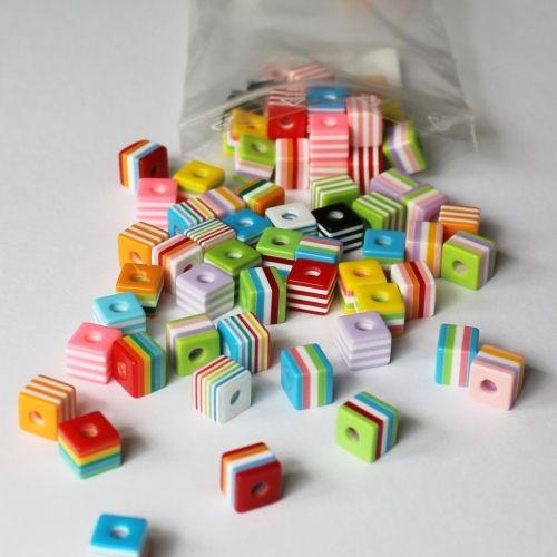 Würfelperlen Farbenmix, 10 x 9 mm , 250 g