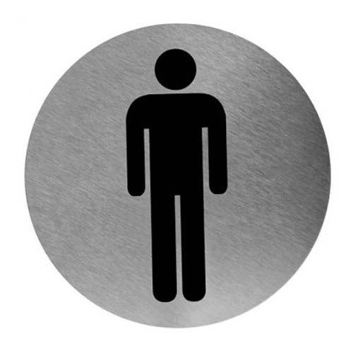 Piktogramm rund Mann Edelstahl, Ø 11,6 cm