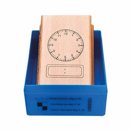 Uhr - Stempel analog - digital 12 Stunden, Ø 6 cm
