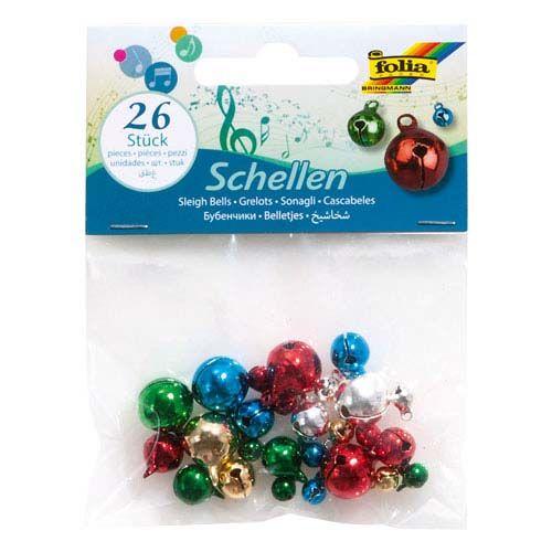 Schellen, farbig sortiert, 26 Stk.