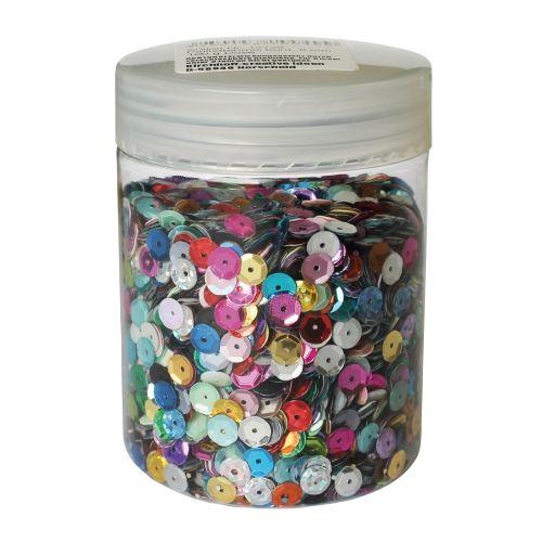 Paillettenmix bunt, 6 mm, 100 g Dose