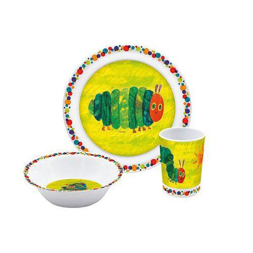 Kinder-Geschirrset Raupe Nimmersatt, Melamin, 3-teilig