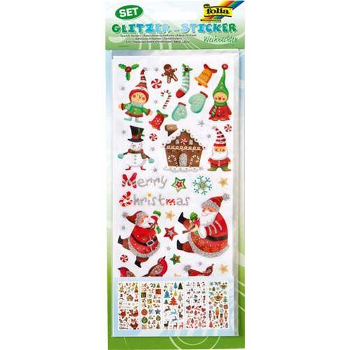 Glitzer Sticker Weihnachten, 5 Blatt
