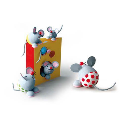 Wattekugeln Kreativa Bastelset Nr. 2XL - Mäusefamilie XL