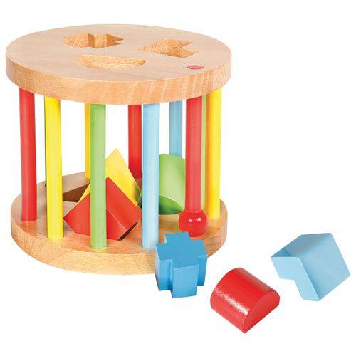 SpielMaus Holz Steckbox, rund, 6 Steine