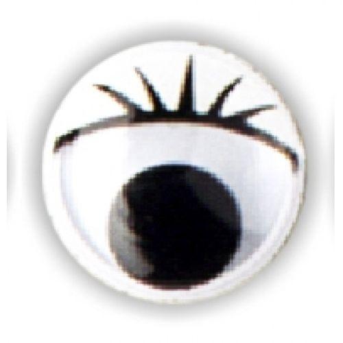 Wackelaugen mit Wimpern, Ø 12 mm