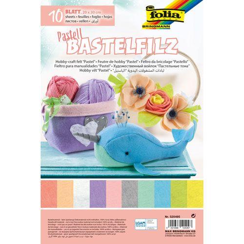 Bastelfilz Pastell, 20 x 30 cm, 10 Blatt