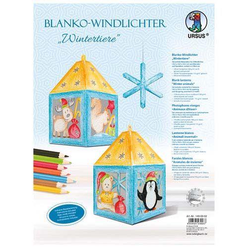 Blanko Windlichter Wintertiere, 2 Stk.