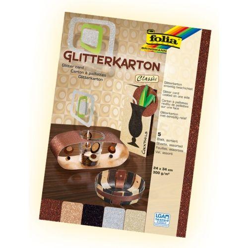 Glitterkarton classic, 24 x 34 cm, 5 Blatt