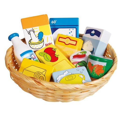 Kaufladen Miniaturen, Lebensmittel und Haushaltswaren im Korb