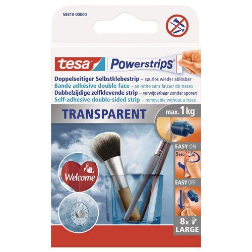 tesa Power-Strips transparent, 5 x 2 cm, 8 Stk.