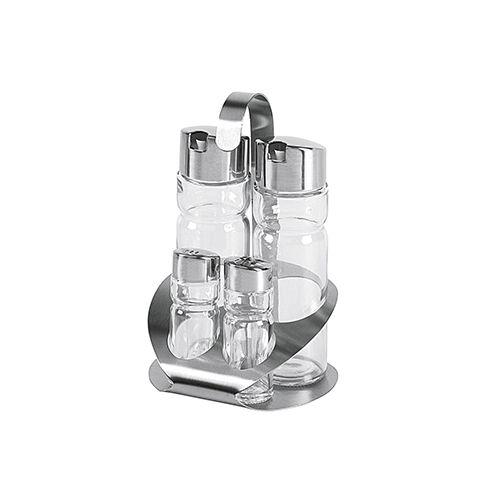 Menage-Set, Edelstahl/Glas, 4-teilig, 12,3 x 11,2 x 18,7 cm