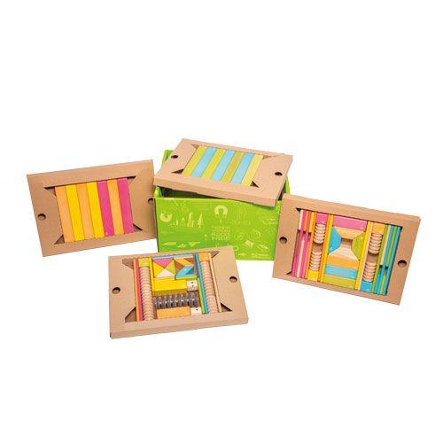 tegu Magnet Holzbausteine Set Tints, 90-teilig