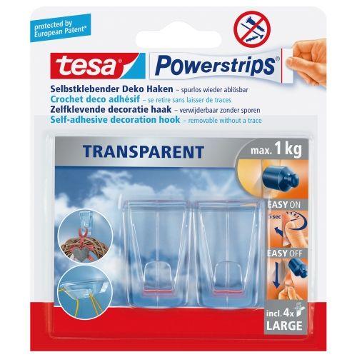 tesa Powerstrips, selbstklebender Deko Haken, transparent, 2 Stk.