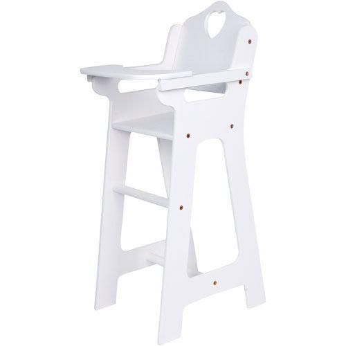 Puppenhochstuhl mit klappbarem Tisch, weiß