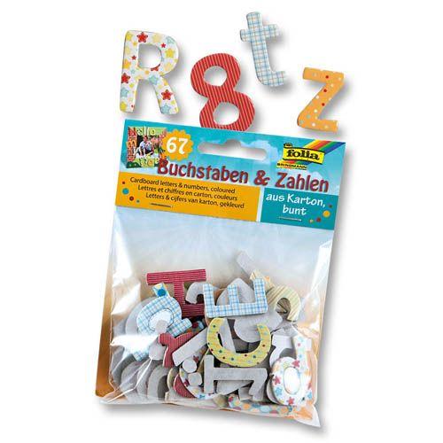Buchstaben und Zahlen bunt aus Karton, 67 Teile