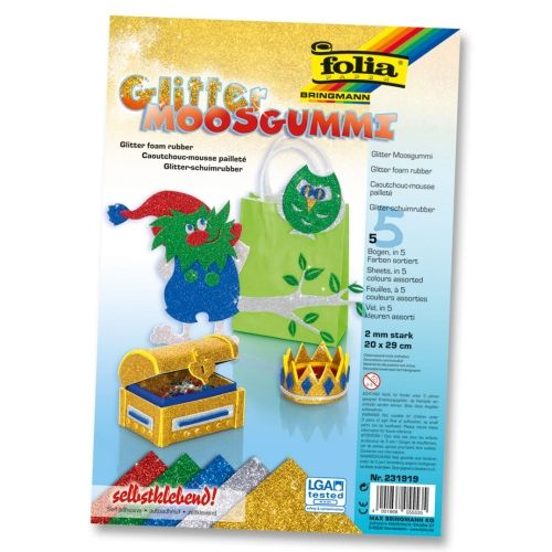 Glitter Moosgummi Set, 20 x 29 cm, 5 Bogen