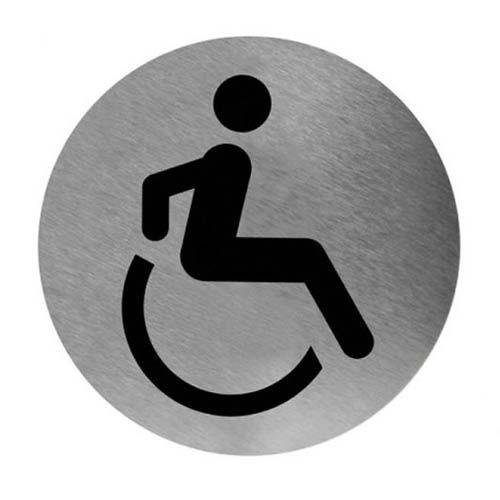 Piktogramm rund Rollstuhl Edelstahl, Ø 11,6 cm