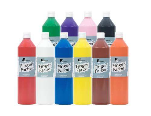 Fingerfarbe, 750 ml, 10 Flaschen