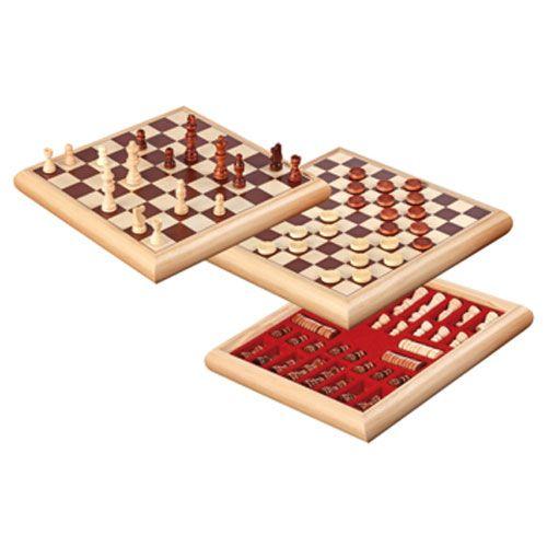 Schach-Dame-Set Holzbox, 32 x 32 cm