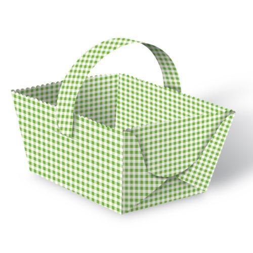 Geschenkkörbchen Mini Karo grün, 5 Stück
