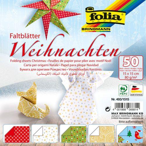 Faltblätter Weihnachten, 15 x 15 cm, 50 Blatt