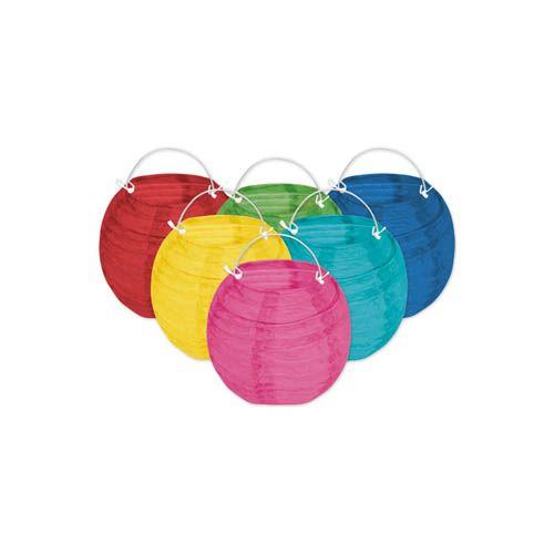 Papierlampions mini, Ø ca. 10 cm, farbiges 6er Set