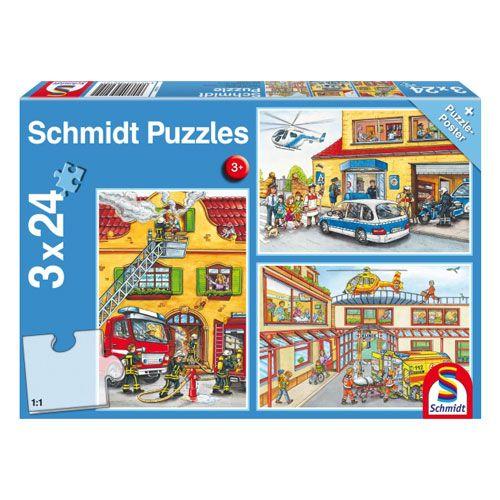 Kinderpuzzle Feuerwehr und Polizei, 3 x 24 Teile