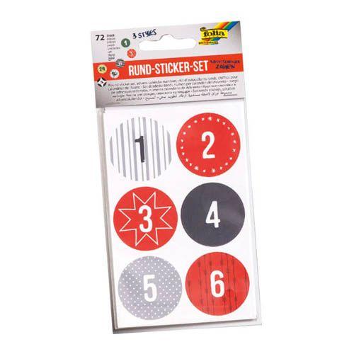 Rund Sticker Set Adventskalender Zahlen, 72 Stk.