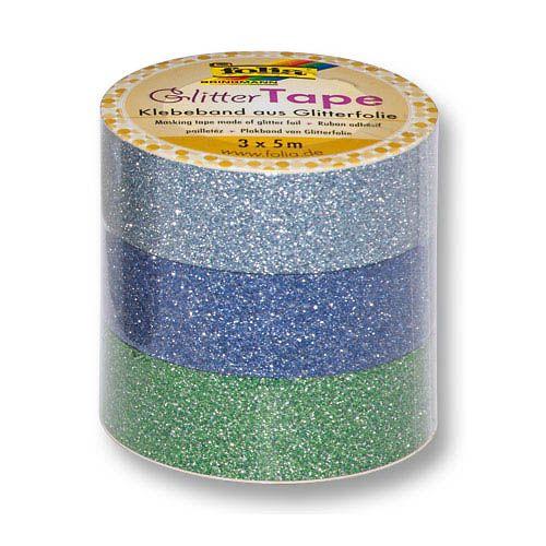 Glitter Tape, hellblau, dunkelblau, grün, 15 mm x 5 m
