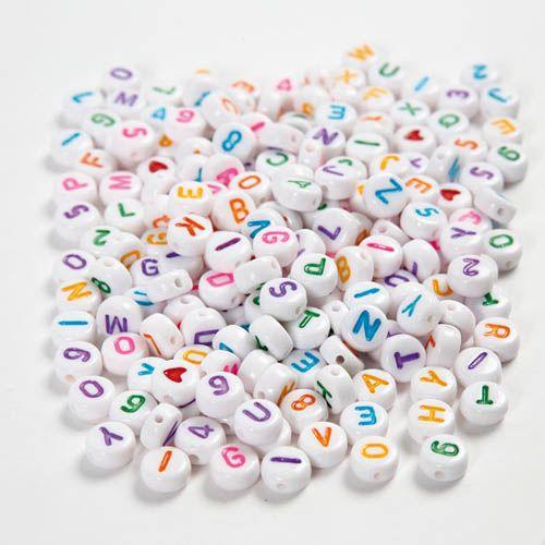 Buchstaben Perlen, A-Z, 0-9 und Herz, mix, 1500 Stk.