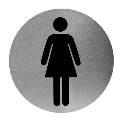 Piktogramm rund Frau Edelstahl, Ø 11,6 cm