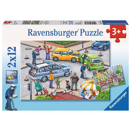 Puzzle: Mit Blaulicht unterwegs, 2 x 12 Teile