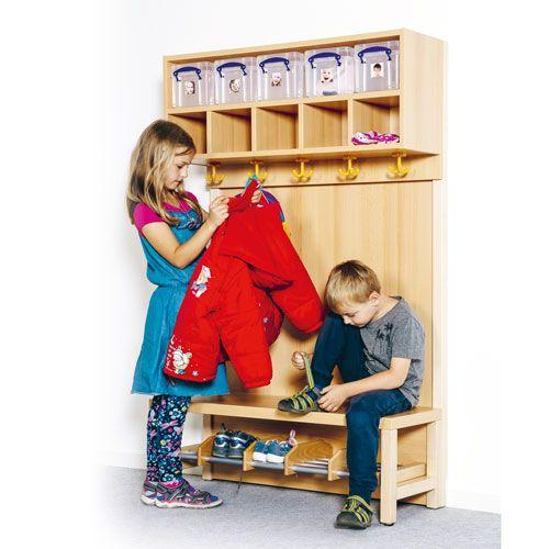 Garderobe mit doppelter Ablagereihe und Boxen