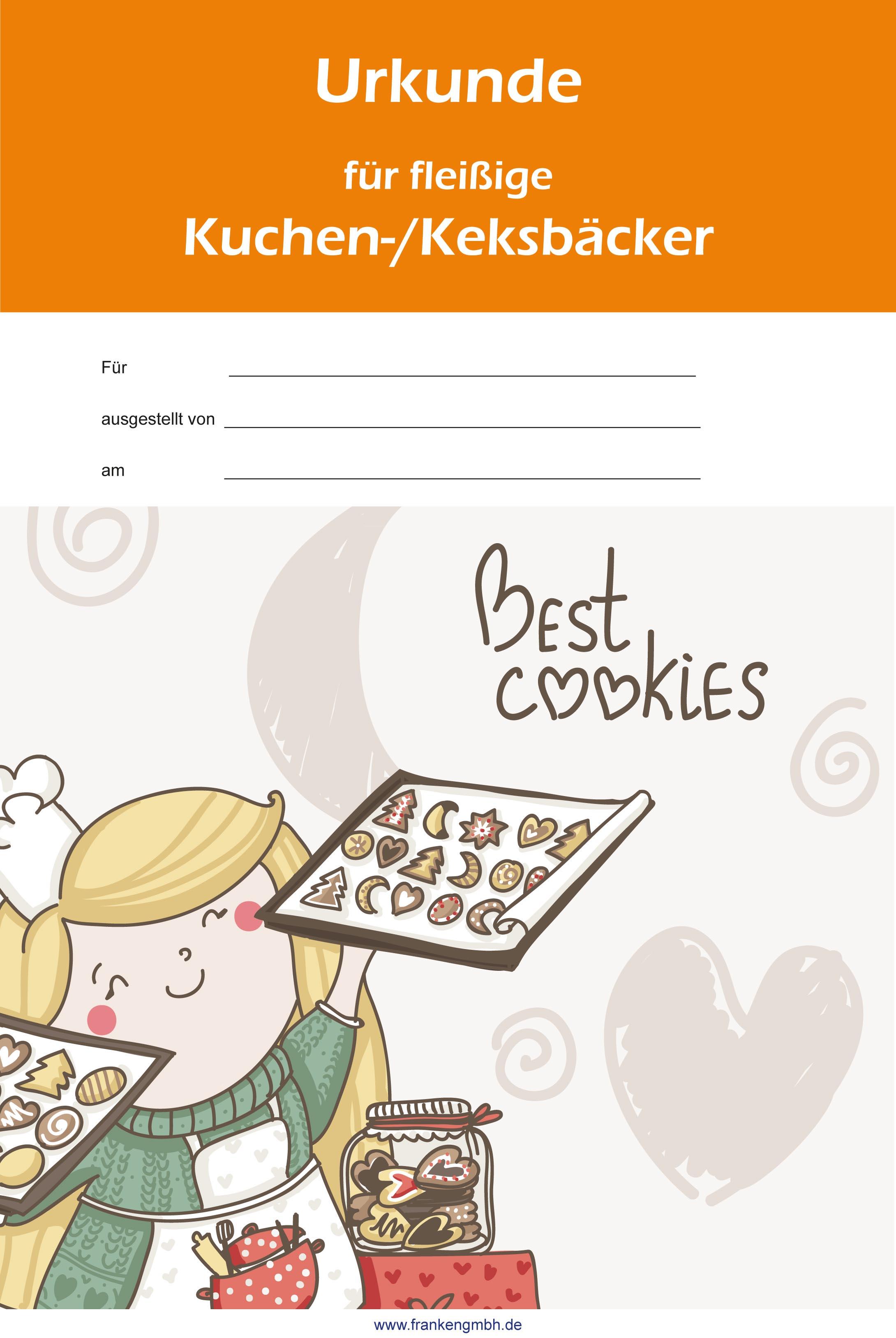 Urkunde Kuchen-/Keksbäcker