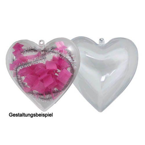 Kunststoff Herz, teilbar mit Aufhänger H 9 cm