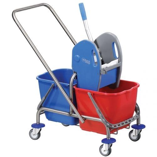 Zweieimer- Edelstahl- Reinigungswagen